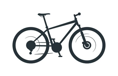 Mountain bike vector silhouette illustration. Eco friendly vehicle, bicycle black monochrome icon. Travel attribute, off road terrain cycling hobby symbol. Healthy lifestyle, pedal driven transport Archivio Fotografico - 128753099