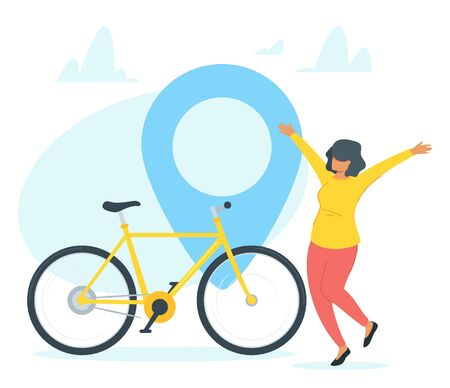 Happy bicycle owner vector illustration. Joyful bike buyer, lady rejoicing cartoon character. Excited young woman buying personal transport, purchase. Cycling hobby, city travel, urban journey