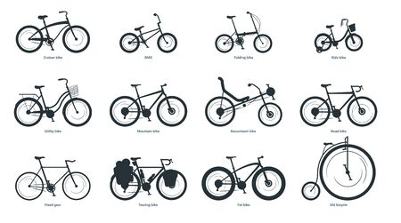 Bicycle types silhouette illustration set. Various bikes with names monochrome black icons pack. Old and modern eco friendly vehicles. Kids and adults pedal driven transport. Cycling hobby attributes Archivio Fotografico - 128753116