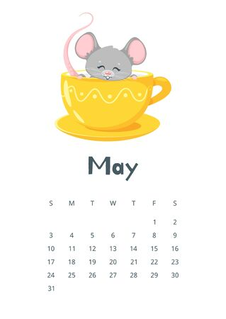 May calendar flat vector illustration. Children planner for spring 2020. Basic grid colorful design with mascot. Organizer template with text and numbers on white background. Cute mouse in teacup Zdjęcie Seryjne - 128753117