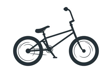 BMX bicycle vector silhouette illustration. Eco friendly vehicle, transport black monochrome icon. Active off road travel attribute, cycling hobby symbol. Healthy lifestyle, motocross racing bike Imagens - 128753257