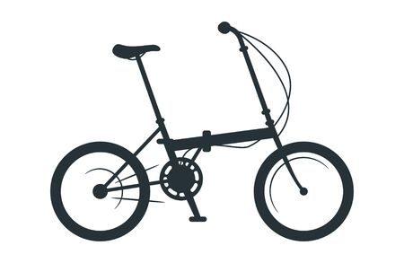 Folding bicycle vector silhouette illustration. Eco friendly vehicle, compact bike black monochrome icon. City travel attribute, cycling hobby symbol. Active healthy lifestyle, portable transport