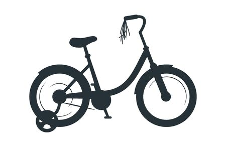 Children bicycle vector silhouette illustration. Eco friendly vehicle, kids transport black monochrome icon. Childhood attribute, cycling hobby symbol. Healthy lifestyle, bike with extra side wheels Archivio Fotografico - 128753260