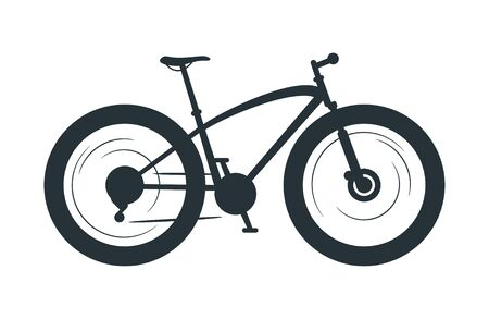 Fat bicycle silhouette illustration. Eco friendly vehicle, fatbike black monochrome vector icon. Off road transport, travel attribute, cycling hobby symbol. Healthy lifestyle, bike with thick tires Çizim
