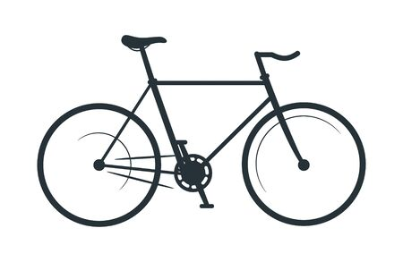 Fixed gear bicycle silhouette illustration. Eco friendly vehicle, common bike black monochrome vector icon. City travel attribute, cycling hobby symbol. Healthy lifestyle, pedal driven transport Illustration