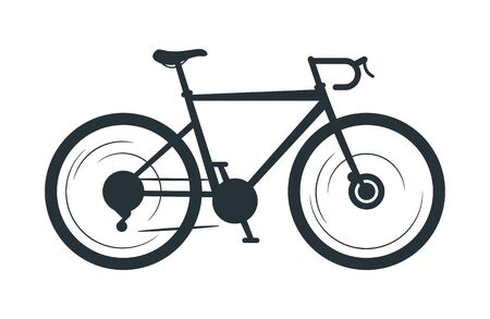 Road bicycle vector silhouette illustration. Eco friendly vehicle, sports bike black monochrome icon. Speed city travel attribute, cycling hobby symbol. Healthy lifestyle, multi gear transport