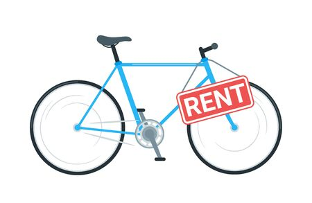Bike rental business vector illustration. Modern bicycle sharing service. Cruiser cycle with sign board. City travel, urban transportation. Borrowing, lending eco friendly vehicle for leisure, pastime