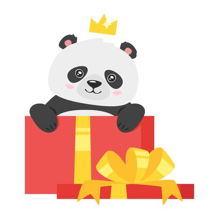 Cute panda with christmas packages. Kawaii asian bear with crown cartoon character. New year animal with present boxes in red wrappage. Chinese wildlife with gifts isolated on white background