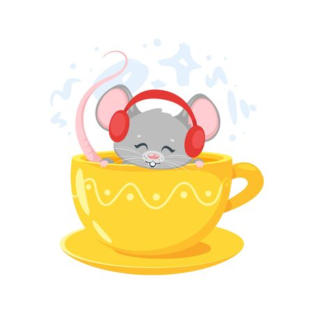 Smiling mouse in yellow cup.