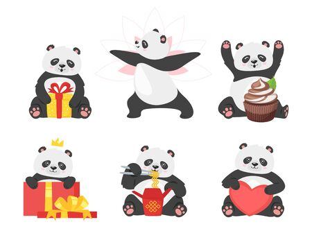 Chinese bear flat illustrations set. Cute panda with present boxes. New year oriental animals with gifts. Adorable asian mascots with food cartoon characters pack isolated on white background Archivio Fotografico - 135119429