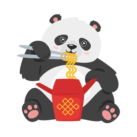 Kawaii panda eating chinese noodles. Cute bear with traditional china food isolated on white background. Asian animal flat vector illustration. Funny oriental new year cartoon character. Illusztráció