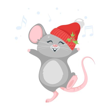 Happy mouse dancing in hat