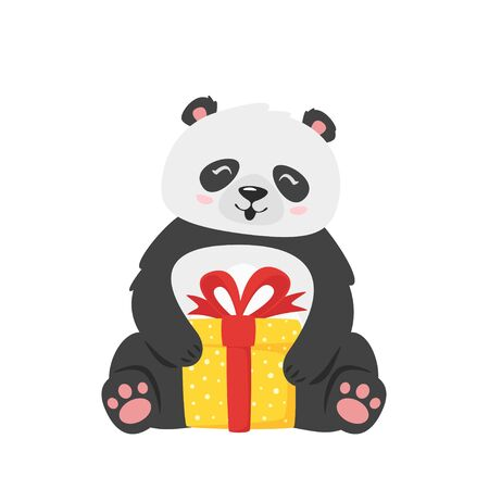 Kawaii panda holding present box. Cute asian animal with christmas gift in wrappage. Chinese wildlife cartoon character. Oriental bear with festive package. New year themed flat vector illustration Illusztráció