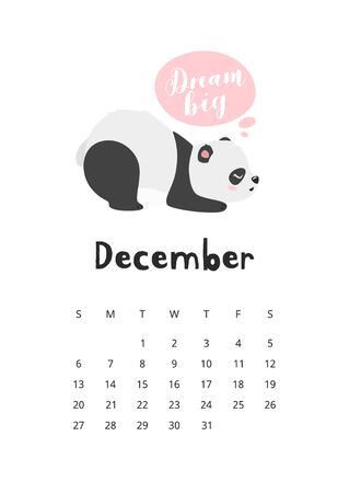 December calendar with panda template. Dreamy asian bear cartoon character. Cute oriental mascot. Sleepy chinese wildlife. Childish planner page design with adorable sleeping animal