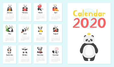 Panda calendar vector templates set. Cute asian bear illustrations collection. Creative new year 2020 stationery item. Christmas organizer pages pack, funny childish planner cartoon design