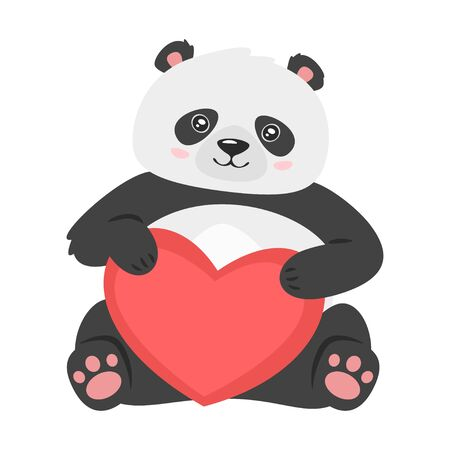 Cute panda holding red heart. Archivio Fotografico - 136518864