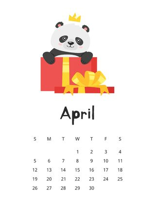 April calendar with panda template. Asian bear in present box with ribbon. Cute chinese mascot with crown. Oriental animal with gift. Childish planner page design with funny wildlife