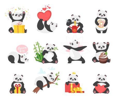 Cute pandas flat illustrations set.