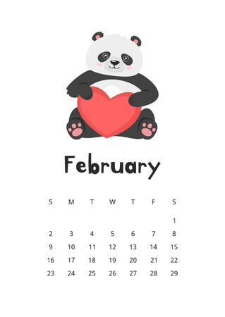 February calendar with panda template. Asian bear holding red heart. Oriental animal with love symbol. Funny asian valentine mascot. Childish planner page design with adorable wildlife