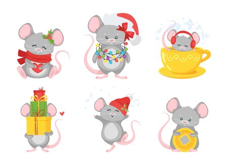 Christmas mouse flat illustrations set.