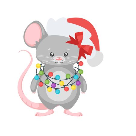 New year mouse with garland. Archivio Fotografico - 136518865