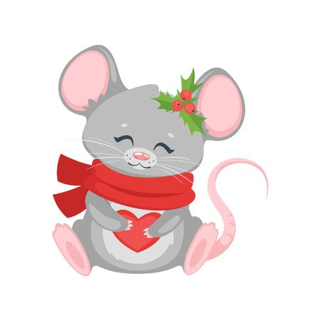 New year mouse with scarf. Archivio Fotografico - 136518861