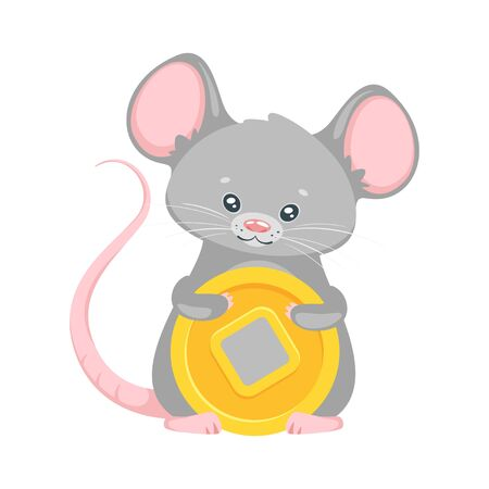 Mouse holding Chinese coin.
