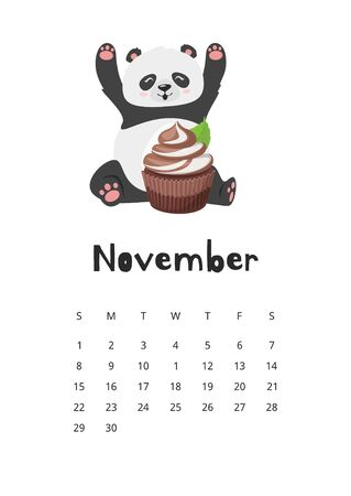 November calendar with panda template. Asian bear with cupcake. Happy chinese animal eating chocolate dessert. Adorable oriental mascot. Childish planner page design with cute wildlife