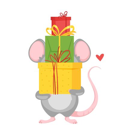 Mouse holding colorful christmas gifts. Archivio Fotografico - 136518867