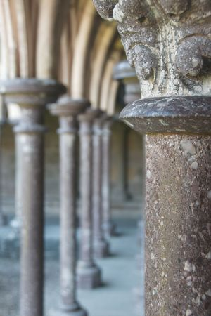 mont saint michel: Columns of the abbey Mont Saint Michel, Normandy, France
