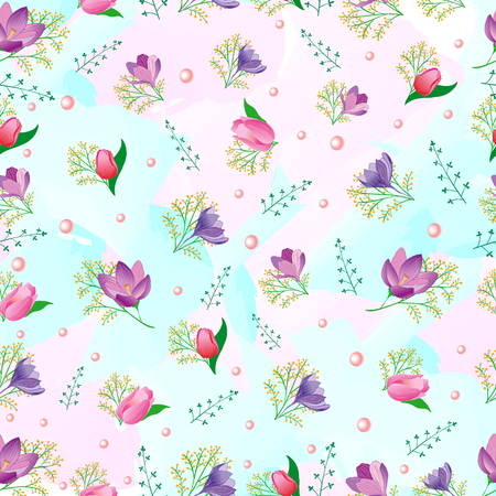 snowdrops: Seamless pattern with spring flowers. Tulips, snowdrops. Can be used for wedding design.