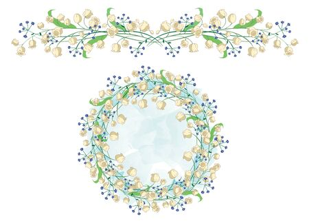 lily of the valley: Circular pattern and border with Lily of the valley. Perfectly suitable for the decoration of greeting cards and wedding design Illustration