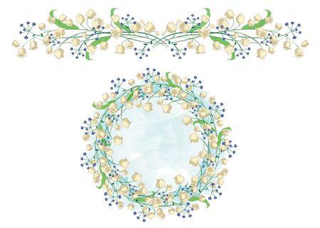 Cirkelvormig patroon en de grens met Lily van de vallei. Perfect geschikt voor de decoratie van wenskaarten en bruiloft ontwerp