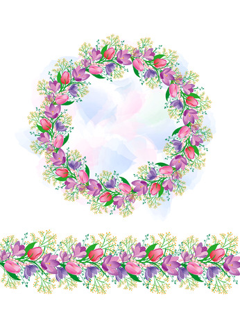Cirkelvormig patroon met tulpen en sneeuwklokjes. Het patroon van de grens van de lente bloemen. Mooi ontwerp voor de kaarten en bruiloft ontwerp