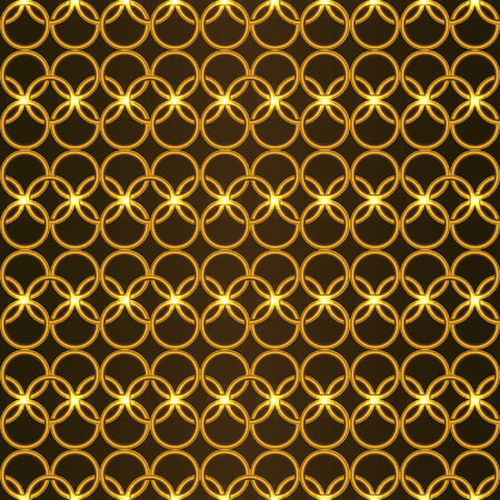 splendour: Gold metallic seamless pattern. The gold woven lattice of rings in the medieval style