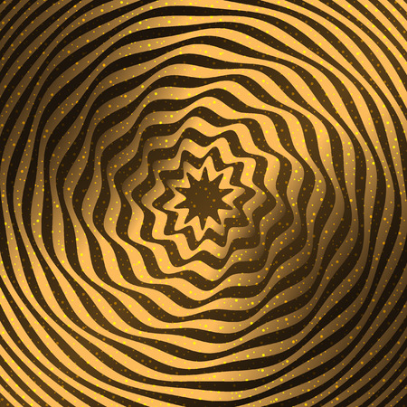 modulations: Gold background. Optical illusion in the form of a spiral twisted tape. Illustration