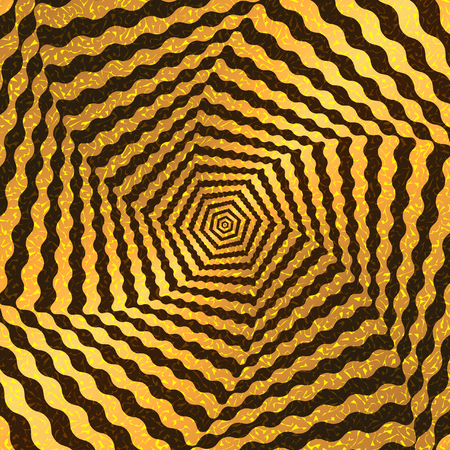 modulations: Optical illusion in the form of a whirlwind of Golden lines and waves