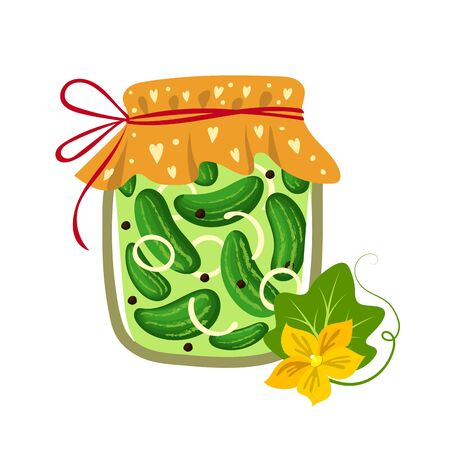 Pickled cucumbers in a jar. Vector illustration.