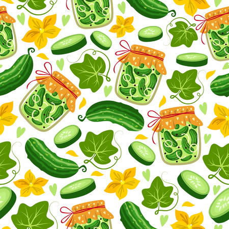 Seamless pattern with pieces of cucumber and jars with pickled cucumbers.