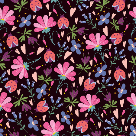ladybird: Seamless pattern with flowers in doodle style Illustration