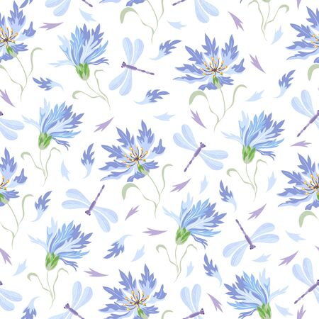 Seamless vector pattern with cornflowers and dragonflies Vettoriali
