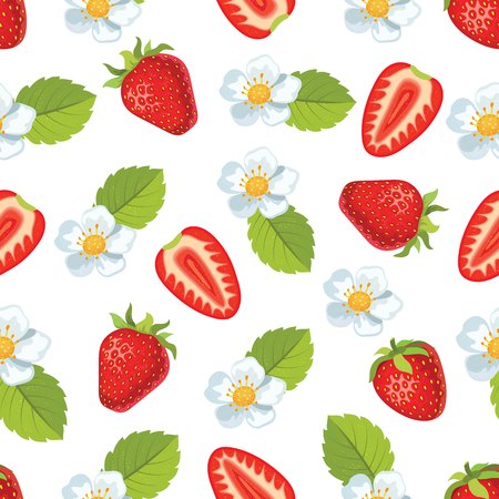 Strawberry with leaves and flowers. Seamless vector pattern Illustration