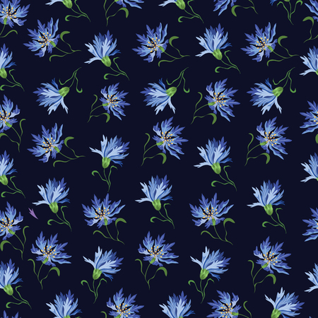 Seamless vector pattern with blue cornflowers on a dark background