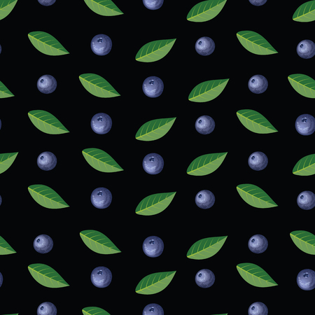 Seamless pattern with blueberries and leaves.