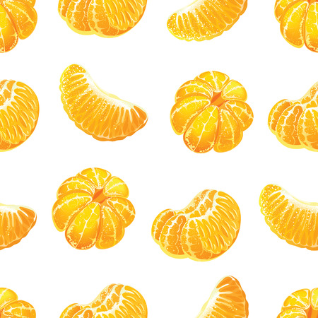 Seamless pattern with peeled tangerines and tangerine slices.