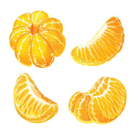 Whole peeled tangerine and peeled mandarin slices