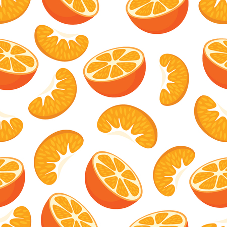 Seamless pattern with mandarin half and a slice of mandarin