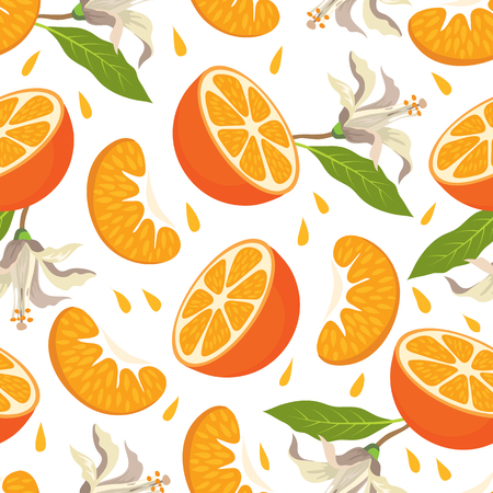 Seamless pattern with tangerines, a mandarin half and a slice of mandarin on a white background.