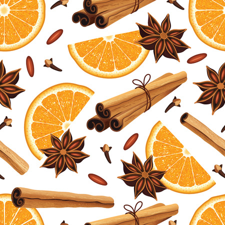 Seamless pattern with anise stars, oranges, cinnamon sticks. Set for mulled wine. Christmas background. Çizim