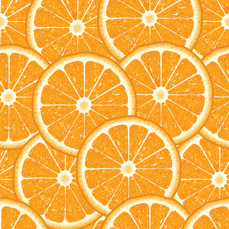 Seamless pattern with orange slices on a white background. Vector illustration.